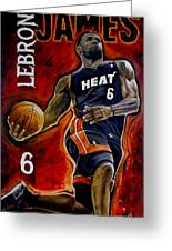 Lebron James Oil Painting-original Greeting Card by Dan Troyer