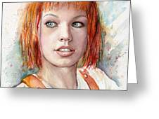 Leeloo Portrait Multipass The Fifth Element Greeting Card