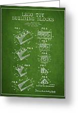 Lego Toy Building Blocks Patent - Green Greeting Card by Aged Pixel