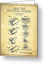 Lego Toy Building Blocks Patent - Vintage Greeting Card by Aged Pixel