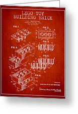 Lego Toy Building Brick Patent - Red Greeting Card