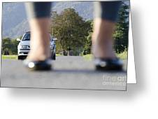 Legs And Car Greeting Card