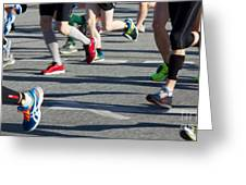 Legs Of Runners At Marathon Greeting Card