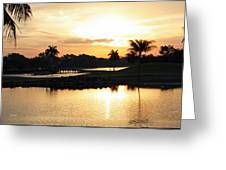 Lely Sunrise Over The Flamingo Greeting Card