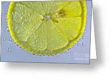 Lemon Slice In Bubbles Greeting Card