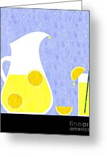 Lemonade And Glass Blue Greeting Card