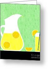 Lemonade And Glass Green Greeting Card