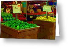 Lemons And Limes Farmers Market Food Stalls Market Vendors Vegetable Food Art Carole Spandau Greeting Card