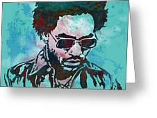 Lenny Kravitz - Stylised Etching Pop Art Poster Greeting Card by Kim Wang
