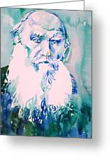 Leo Tolstoy Watercolor Portrait.2 Greeting Card