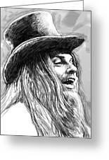 Leon Russell Art Drawing Sketch Portrait Greeting Card