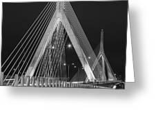 Leonard P. Zakim Bunker Hill Memorial Bridge Bw Greeting Card