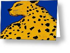 Leopard On Blue Greeting Card