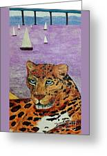 Leopard On The Water Greeting Card
