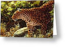 Leopard Painting - On The Prowl Greeting Card