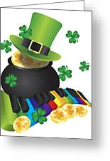 Leprechaun Hat With Piano Keys And Pot Of Gold Greeting Card