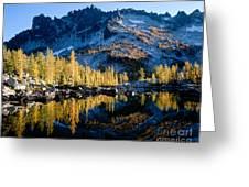 Leprechaun Lake Larch Trees Greeting Card