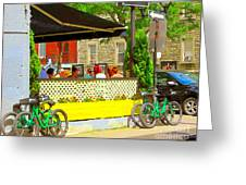 Les Folies De Montreal Cafe Resto Lounge Paris Style Bistro City Scene Carole Spandau Greeting Card