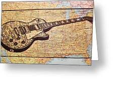 Les Paul On Usa Map Greeting Card by William Cauthern