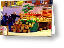 Les Pommes Fruiterie Marcel Vert Pommes Red Apples Jean Talon  Market Scenes Carole Spandau  Greeting Card