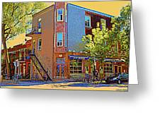 Les Saveurs Cafe Resto Grillades Tapas Petit Dejeuner Montreal French Cafe City Scene Carole Spandau Greeting Card