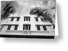 Leslie Hotel South Beach Miami Art Deco Detail - Black And White Greeting Card by Ian Monk