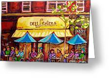 Lester's Deli Montreal Smoked Meat Paris Style French Cafe Paintings Carole Spandau Greeting Card