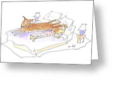 Let Sleeping Dogs Lie Greeting Card by Molly Brandenburg