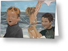 Beach - Children Playing - Kite Greeting Card