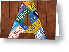 Letter A Alphabet Vintage License Plate Art Greeting Card