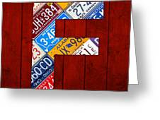 Letter F Alphabet Vintage License Plate Art Greeting Card