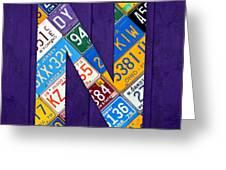 Letter N Alphabet Vintage License Plate Art Greeting Card