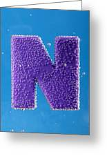 letter N underwater with bubbles  Greeting Card