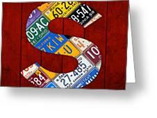 Letter S Alphabet Vintage License Plate Art Greeting Card