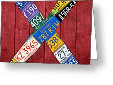 Letter X Alphabet Vintage License Plate Art Greeting Card