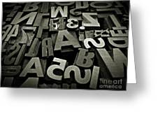 Letters And Numbers Gray Tones Greeting Card