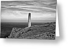 Levant To Pendeen View Black And White Greeting Card