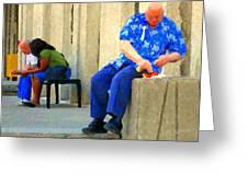 L'homme Orange Quiet Corner On St Catherine Street Downtown Montreal City Scene Carole Spandau Greeting Card