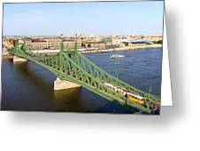 Liberty Bridge And Budapest Skyline Greeting Card