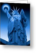 Liberty Shines On In Blue Greeting Card