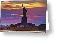 Liberty Statue Silhouette Sunset Greeting Card