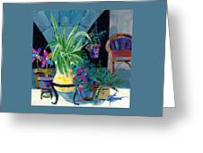 Library Courtyard-rhodes Old Town Greeting Card