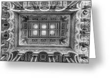 Library Of Congress Main Hall Ceiling Bw Greeting Card