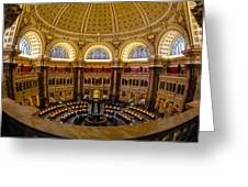 Library Of Congress Main Reading Room Greeting Card