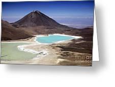 Licancabur Volcano And Laguna Verde Greeting Card
