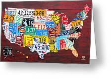 License Plate Art Map Of The Usa Edition 14 By Design Turnpike Greeting Card by Design Turnpike