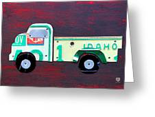 License Plate Art Pickup Truck Greeting Card