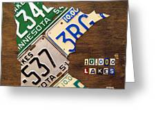 License Plate Map Of Minnesota By Design Turnpike Greeting Card