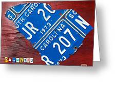 License Plate Map Of South Carolina By Design Turnpike Greeting Card