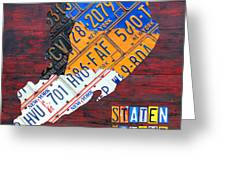 License Plate Map Of Staten Island New York Nyc Greeting Card